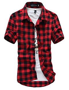 Men's Board Shirts Breathable Comfortable Short Sleeve Shirt,Cotton / Polyester Casual / Sport Plaid shirts