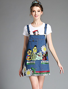 Fashion Loose Casual Women Cute Bead Sequins Pocket Denim Plus Size Suspender Dress