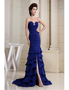 저녁 정장파티 드레스-로얄 블루 트럼펫/머메이드 코트 트레인 스윗하트 쉬폰