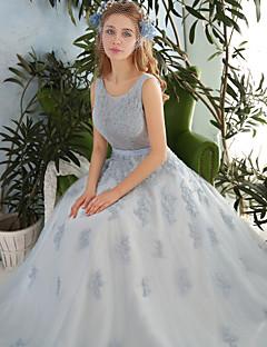 공주 웨딩 드레스 바닥 길이 스쿱 레이스 / 튤 와 비즈 / 크리스탈 / 레이스