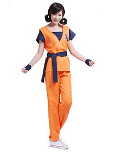 Inspirado por Dragon ball Son Goku Anime Fantasias de Cosplay Ternos de Cosplay Estampado Laranja Manga Curta Top / Calças / Cinto