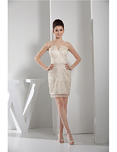 Cocktail Party Dress-Champagne Sheath/Column Jewel Short/Mini Lace / Tulle