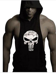 Men's Skull Printing Bodybuilding Fitness Sleeveless Hooded Tank Tops Casual / Sport Vest