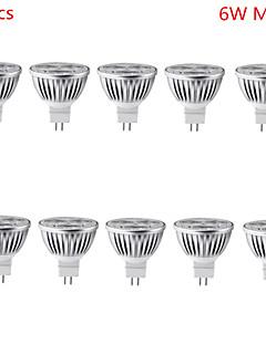 Spot LED Décorative Blanc Chaud / Blanc Froid HRY 10 pièces MR16 GU5.3(MR16) 6W 3 LED Haute Puissance 500 lm DC 12 V
