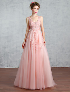 Prom Formal Evening Dress - Beautiful Back A-line V-neck Court Train Lace Tulle with Beading Lace Pearl Detailing Sequins