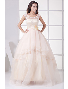 A-line Wedding Dress Wedding Dresses in Color Floor-length Jewel Organza / Satin with Appliques / Beading / Flower / Sash / Ribbon