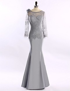 Trumpet / Mermaid Mother of the Bride Dress Floor-length Lace / Satin with Flower(s) / Lace