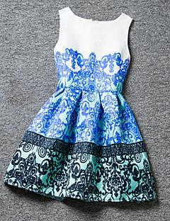 Mädchen Kleid Polyester Sommer Blau / Rot