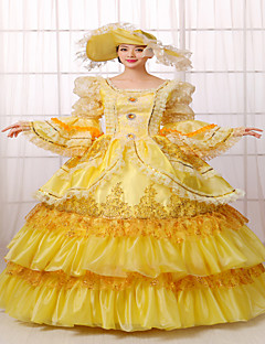 One-Piece/Dress Classic/Traditional Lolita Steampunk® / Victorian Cosplay Lolita Dress Yellow Solid Long Sleeve Long Length Dress / Hat