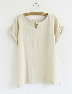 T-shirt Da donna Casual Semplice / Moda città Estate,Tinta unita A V Lino Bianco / Beige / Marrone / Verde Manica corta Sottile