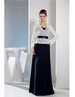 Tubinho Vestido Para Mãe dos Noivos Longo Renda / Charmeuse - Botões / Faixa / Fita