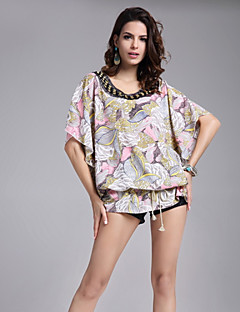 Women's Round Neck Floral Print Beads Embroidery Cap Sleeve Big Plus Size Blouse,