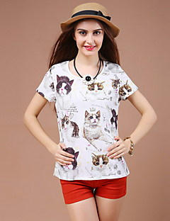 Women's Animal Print White T-shirt,Round Neck Short Sleeve