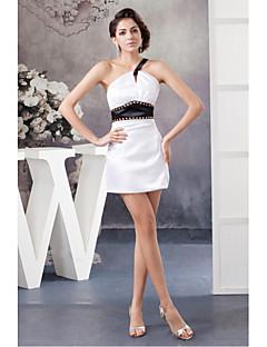 Cocktail Party Dress-White Sheath/Column One Shoulder Short/Mini Satin