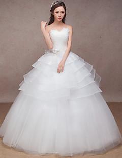 Princesa Vestido de Noiva Longo Coração Organza com Miçanga / Cruzado