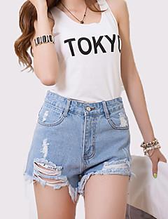 Mulheres Calças Plus Sizes / Moda de Rua Shorts / Jeans Algodão / Poliéster Micro-Elástica Mulheres