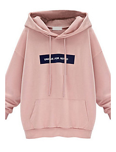 Women's Casual/Daily Simple Hoodies Print Pink / Gray Polyester
