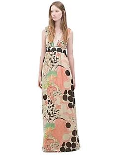 Kvinders Simpel Løstsiddende Trykt mønster Kjole Maxi Dyb V Polyester