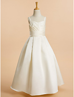Lanting Bride ® A-line Floor-length Flower Girl Dress - Satin Sleeveless Spaghetti Straps with