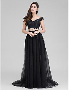 저녁 정장파티 드레스 - 블랙 A-라인 스윕/브러쉬 트레인 스윗하트 명주그물