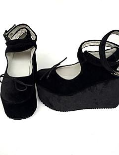 Handmade Custom Black Corduroy Heel Height 8CM Shoes