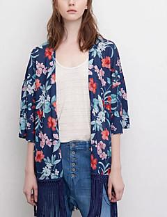 Halvlange ermer Skjorte Rund hals Delt Polyester Kvinner