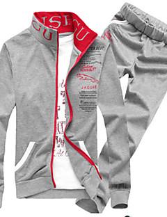 Katoen-Print-Heren-Activewear Sets-Lange mouw