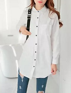 여성의 솔리드 셔츠 카라 긴 소매 셔츠 면