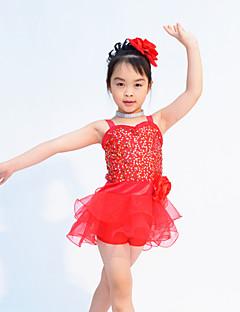 Roupas de Dança para Crianças Roupa Crianças Actuação Organza / Licra Lantejoulas Sem Mangas Natural