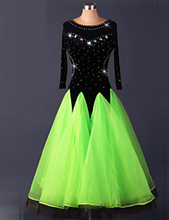 Ballroom Dance Dresses Women's Performance Spandex Draped 1 Piece Green / White / Yellow Modern Dance Dress