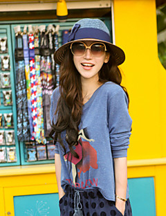 Women Straw Bow Color Block Fedora Hat,Party / Casual Spring / Summer / Fall