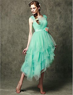 Asymmetrical Tulle Bridesmaid Dress - A-line Scoop with Appliques / Flower(s)