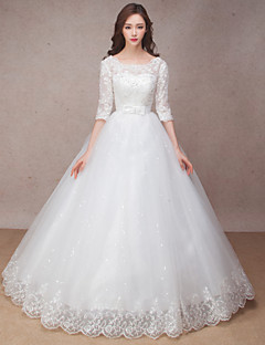 Princess Wedding Dress Floor-length Scoop Lace with Bow / Flower / Ruffle