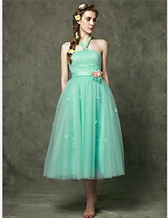 Tea-length Tulle Bridesmaid Dress A-line Halter with Flower(s)