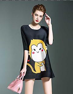 Liebe Falten Frauen einfache / nette Tierdruck lösen Kleid, runder Ausschnitt Mini Polyester