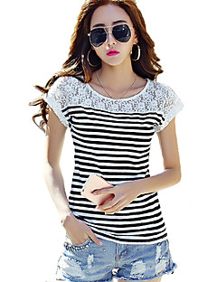 Women's Going out Simple / Street chic T-shirt,Striped Round Neck Short Sleeve White / Black Cotton / Rayon Thin