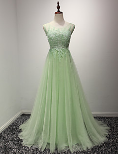 Formal Evening Dress-Sage A-line Scoop Court Train Lace / Tulle