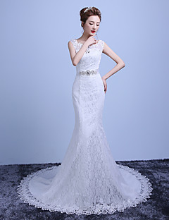 Trumpet/Mermaid Wedding Dress-White Chapel Train Scoop Lace / Satin / Tulle
