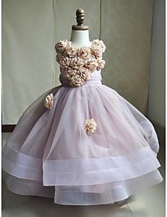 Ball Gown Sweep / Brush Train Flower Girl Dress - Satin / Tulle Sleeveless Jewel with