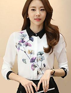 Women's Fashion Korean Shirt Collar Wild Floral Print Stitching Long Sleeve Work OL Chiffon Shirt