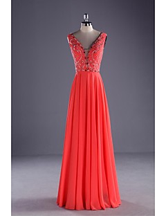 TS Couture® Formal Evening Dress Ball Gown V-neck Floor-length Chiffon / Charmeuse with Beading