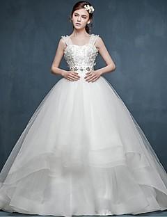볼 드레스 웨딩 드레스 코트 트레인 스트랩 튤 와 꽃장식