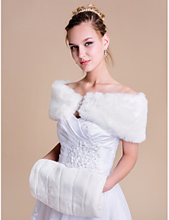 Women's Wrap Shrugs Sleeveless Faux Fur Ivory Wedding / Party/Evening Bateau Rhinestone Clasp