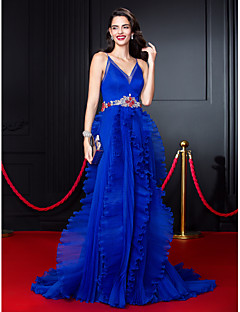 A-Line Spaghetti Straps Court Train Organza Prom Formal Evening Dress with Beading Sash / Ribbon Ruffles by TS Couture®