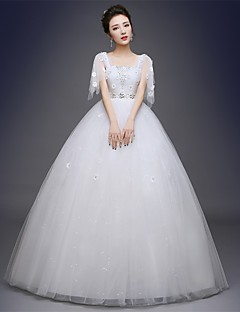 Ball Gown Wedding Dress Sparkle & Shine Floor-length Square Satin Tulle with Appliques