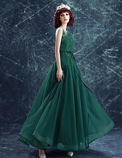 포멀 이브닝 드레스 A-라인 스쿱 바닥 길이 튤 와 아플리케 / 비즈 / 리본