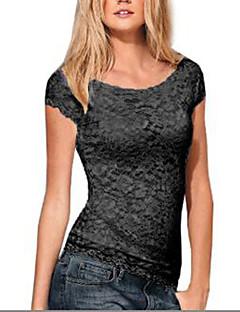 De las mujeres Camiseta-Encaje Escote Redondo-Algodón / Lino-Manga Corta
