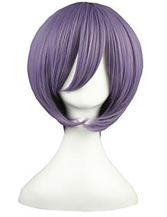Cosplay Wigs Suzumiya Haruhi Yuki Nagato Purple Short Anime Cosplay Wigs 32 CM Heat Resistant Fiber Male / Female