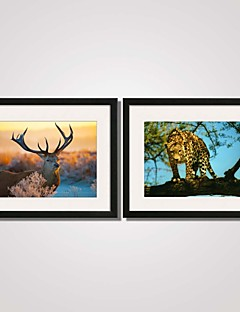 Framed the Deer and the Leopard  Canvas Print Art Set of 2 for Home Decoration Ready To Hang