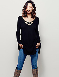Women's Solid Red / Black / Brown Pullover , Sexy / Casual Long Sleeve